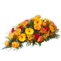 Orange funeral spray
